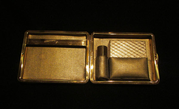 Vintage Zell Gold Compact Purse Carryall In Original Box 1950's Roundtowner Kit