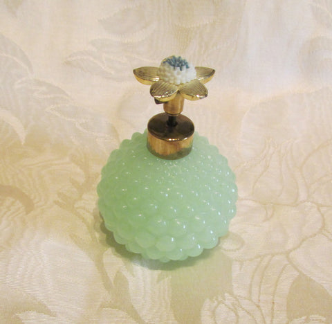 1940s Atomizer Perfume Bottle Green Hobnail Depression Glass Floral Top Excellent Working Condition