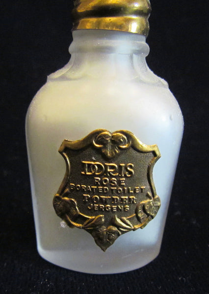 Antique Jergens Doris Rose Borated Perfume Toilet Talcum Powder 1910 Mini Bottle UNUSED Extremely Rare