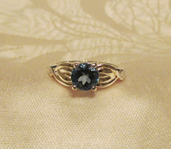 London Blue Topaz Sterling Silver 1.75 Carat Round Cut Ring  Size 8