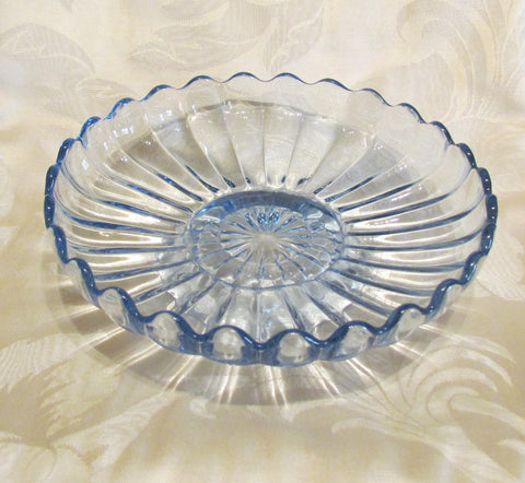 1940s Candy Dish Blue Depression Glass Candle Holder Compote