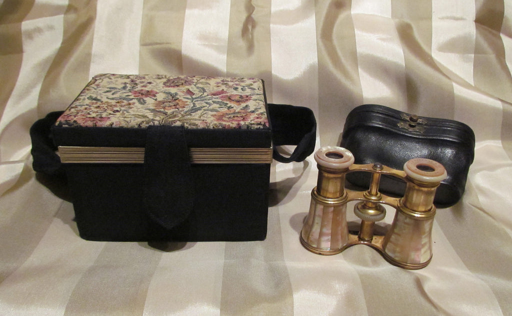 1800s LeMaire Fi Mother Of Pearl Opera Glasses Antique Paris Theater Glasses 1920s Morie Tapestry Box Purse