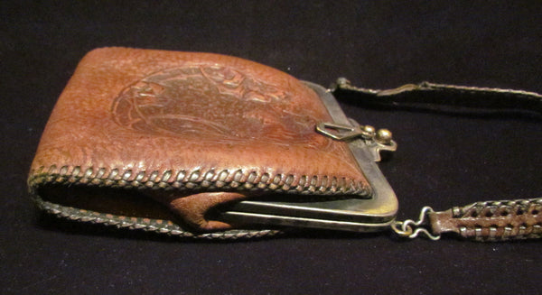 Tooled Leather Purse 1921 Art Nouveau Handbag Vintage Parrot Purse Antique Leather