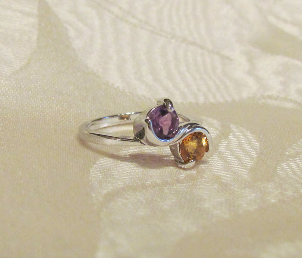 Amethyst And Citrine 1 Carat Round Cut Sterling Silver Ring Size 6