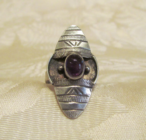 925 Sterling Silver Amethyst Ring Size Vintage India Style 6 1/2