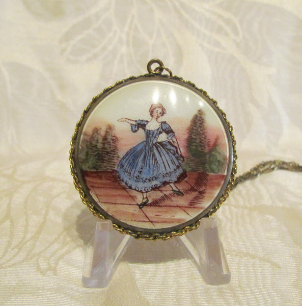 Gold Guilloche Enamel Pendant Compact Necklace Vintage Victorian Powder Compact Necklace