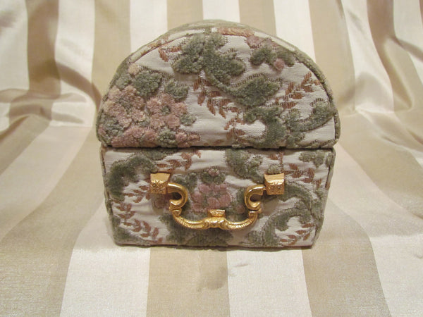 Vintage Jewelry Box Upholstery Cloth Vanity Box Trinket Box Sage Green, Rose, Cream & Gold
