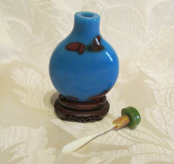 Vintage Asian Perfume Bottle Snuff Bottle Blue Polished Stone Wooden Base Chinese Vanity Accessory