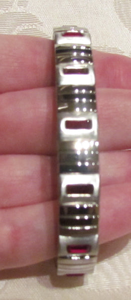 Garnet Swarovski Crystal Bracelet Stainless Steel Expansion Bracelet Unused