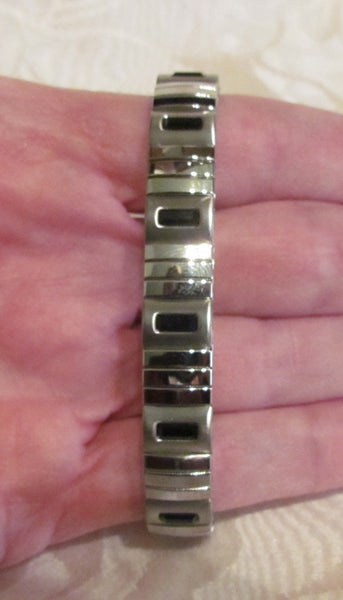 Onyx Swarovski Crystal Bracelet Black Crystal Stainless Steel Expansion Bracelet Unused