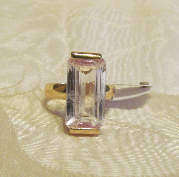 9.75ct Pink Kunzite 14Kt Gold Ring High Fashion Bruce Magnotti Cocktail Ring Fine Jewelry Size 7