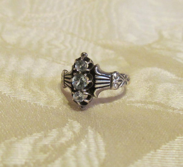 Antique Style 0.33ct Aquamarine 3 Stone Sterling Silver Ring Size 5 1/2