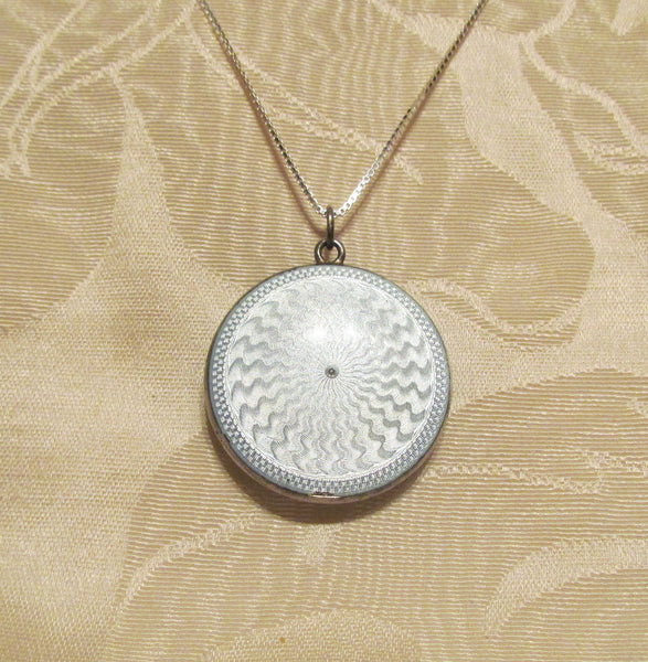 Blue Guilloche Compact Necklace Sterling Silver Enamel Powder Compact Pendant