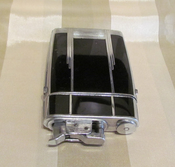 Art Deco Evans Case Lighter Black Enamel Design 1940s Trig-A-Lite Cigarette Case Working Condition