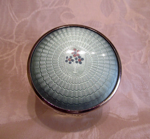 Powder Jar Guilloche Celluloid Art Deco Vanity Jar 1940s Glass Trinket Holder Storage