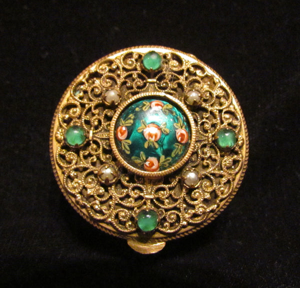 Gold Filigree Compact Set French Guilloche Enamel White Pearls Green Stones Antique Powder Boxes 1800's