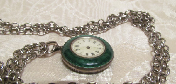 Steampunk Green Guilloche Watch Fob Art Deco Pendant Necklace Non Working Watch