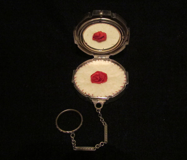 Victorian Silver Compact Purse Red Guilloche Blue And Red Stones Finger Ring Evans May Fair RARE
