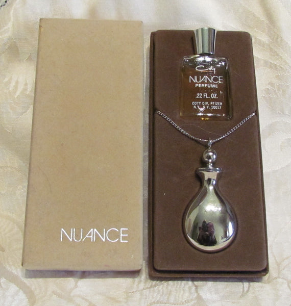 Silver Perfume Bottle Necklace Coty Nuance Perfume Boxed Gift Set Unused Mint Condition