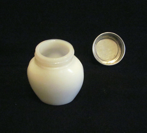 Three Flowers Cleansing Cream Jar Milk Glass Bottle Gold Foil Label Litho Lid 1920's Richard Hudnut