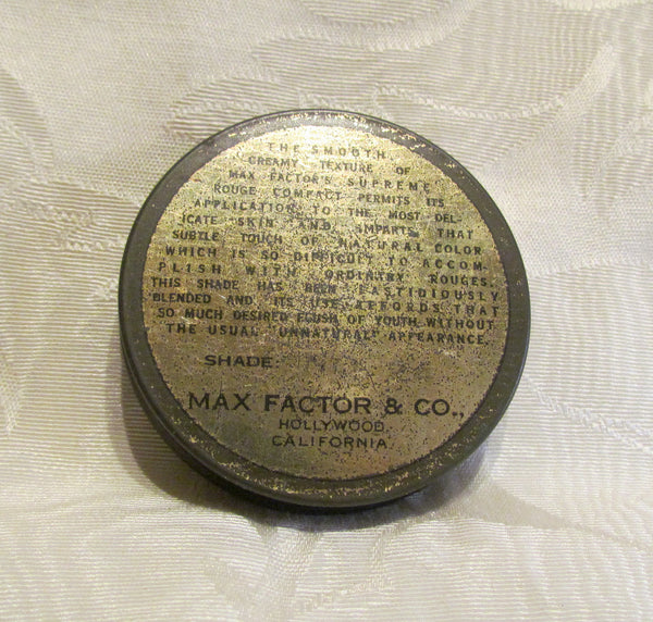 1930s Max Factor Supreme Rouge Tin Vintage Powder Tin