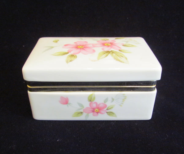 Vintage Box Jewelry Box Trinket Box Ceramic Box Floral Box Porcelain Box