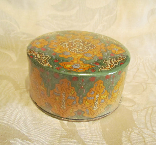 1940's Coty Powder Box Air Spun Emeraude Vibrant Vintage Art Deco Vanity Box With Powder