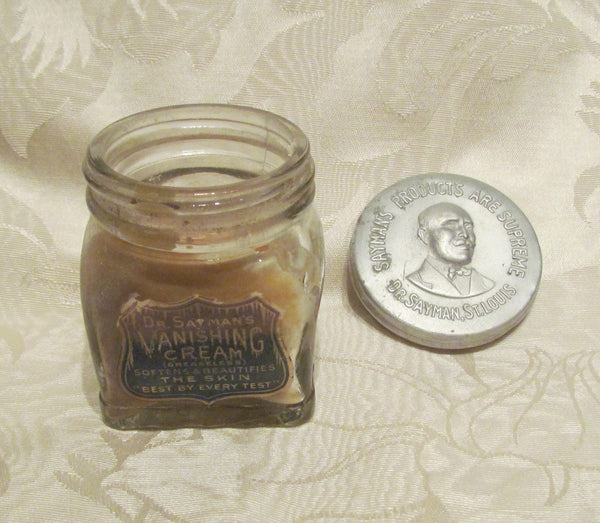 Dr Saymans Vanishing Cream Jar Glass Bottle Embossed Metal Lid Circa 1910's