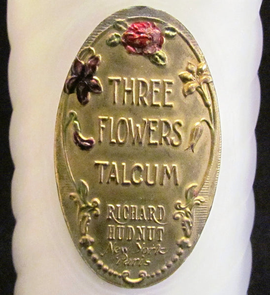 Three Flowers Richard Hudnut Talcum Powder Bottle Powder Bottle Excellent Condition