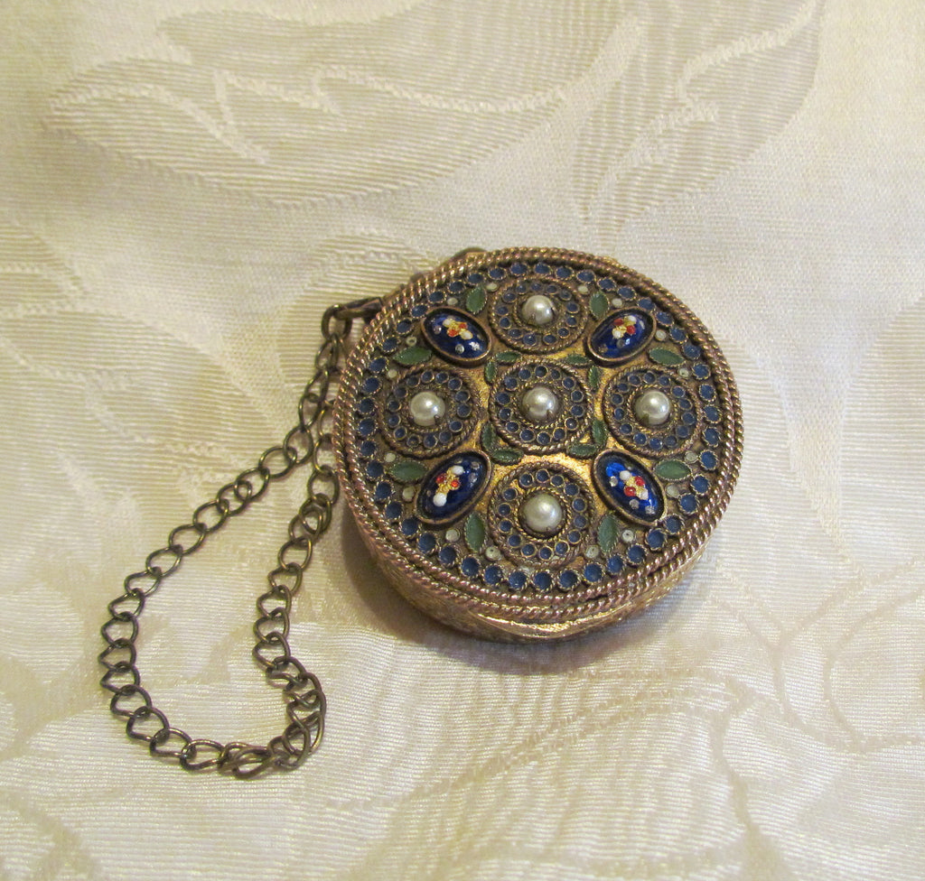 French Gold Compact Box Blue Guilloche & Pearl Accents 1800's Powder Compact Purse Rare