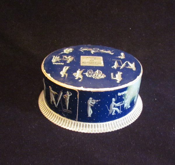 Evening In Paris Powder Box 1940s Bourjois Powder Container Dark Blue & Silver