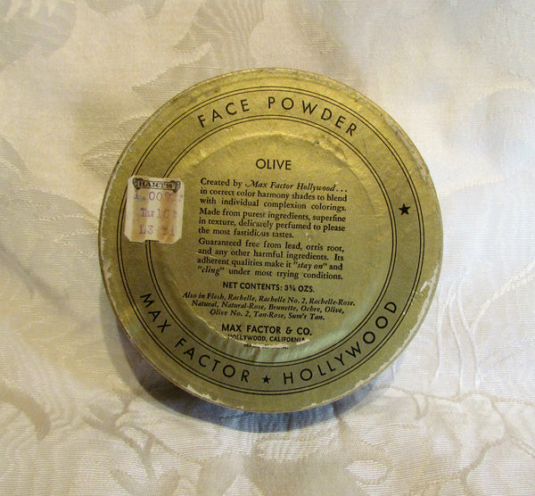 Max Factor Powder Box 1940s Hollywood Society Makeup Face Powder Container