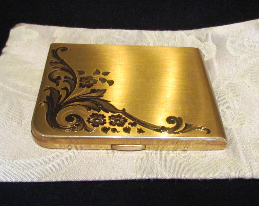 Elgin American Cigarette Case 1940s Gold Business Card Case Etched Pattern