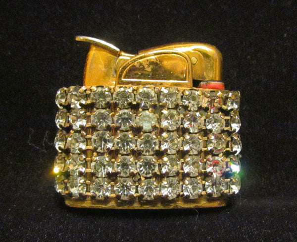 Evans Gold Rhinestone Lighter 1950's Working Lighter Mad Men Bling Excellent Condition