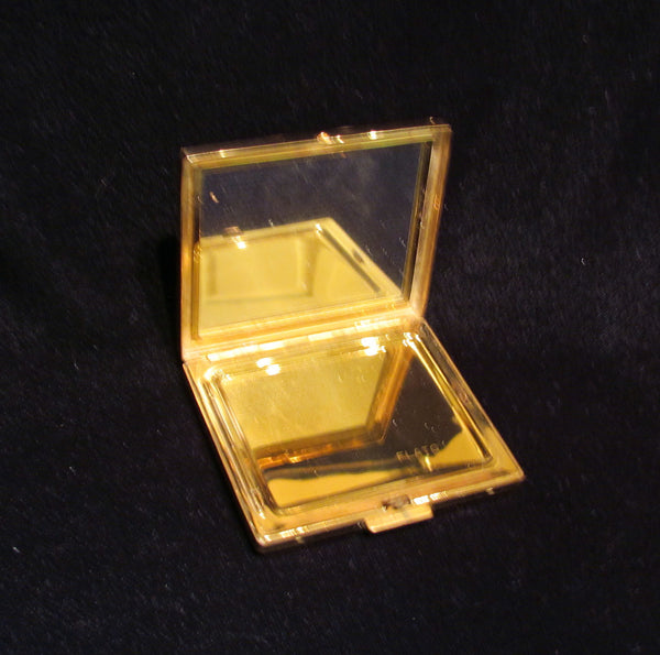 Paul Flato Rhinestone Compact Rare Vintage Gold Plated Powder Makeup Compact