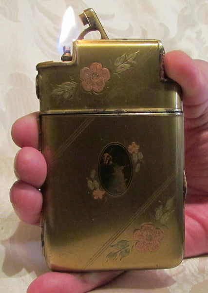 Ladies Marathon Cigarette Case Lighter 1930s Slide A Lite Working Gold & Enamel Case Lite