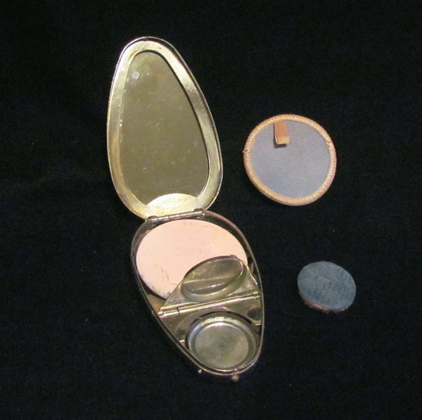 Vintage Karess Woodworth Silver Guilloche Compact 1917 Enamel Powder Rouge Compact Rare