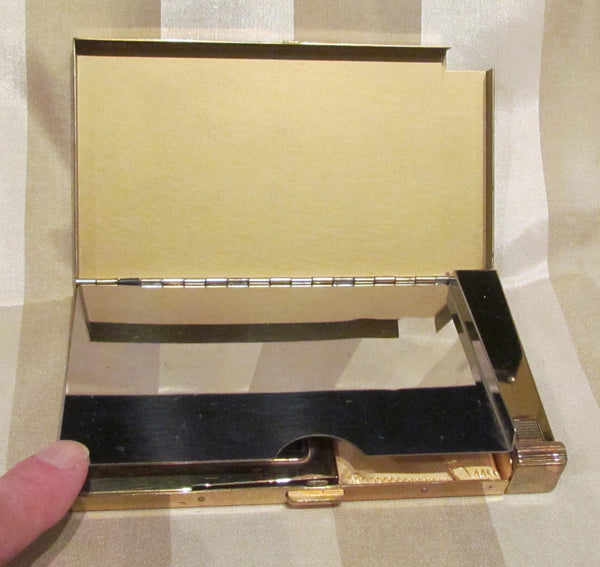 Volupte Lip Lock Purse & Cigarette Case 1950's Gold And Black Moire Purse