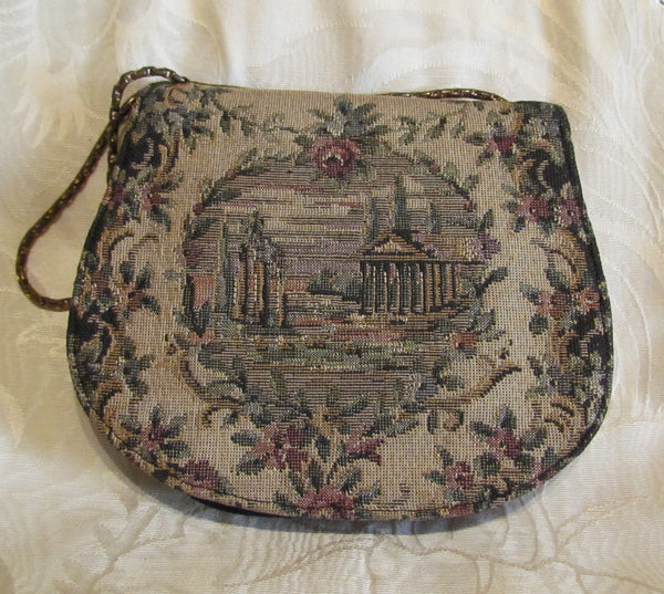 Victorian Tapestry Purse 1900s Petit Point Handbag Loomed Needle