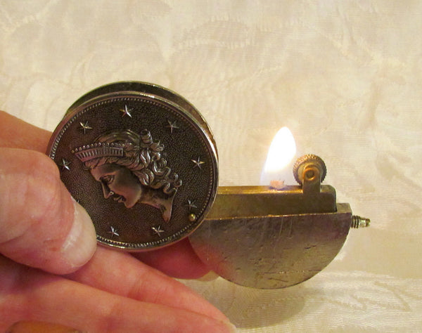 Silver Coin Lighter 1950s Windsor Pocket Lighter Mid Century Working Condition