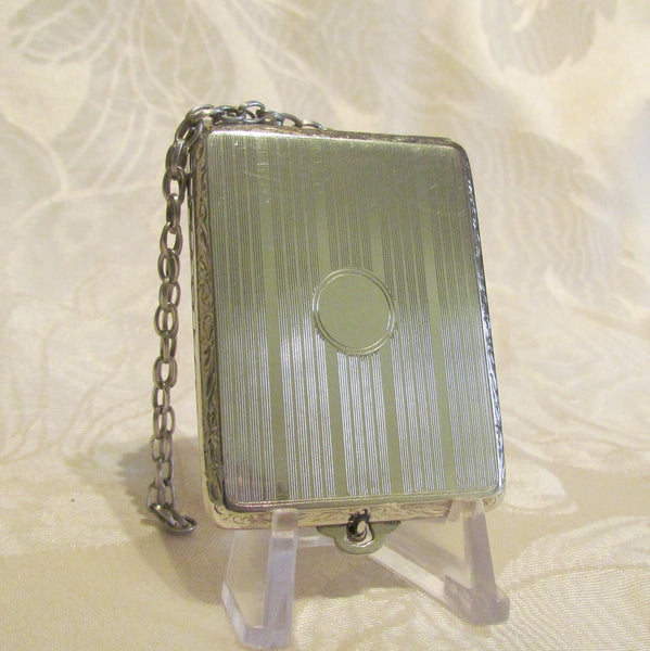Antique EAM Match Safe Chatelaine Vesta Silver Edwardian Nickel Silver Case