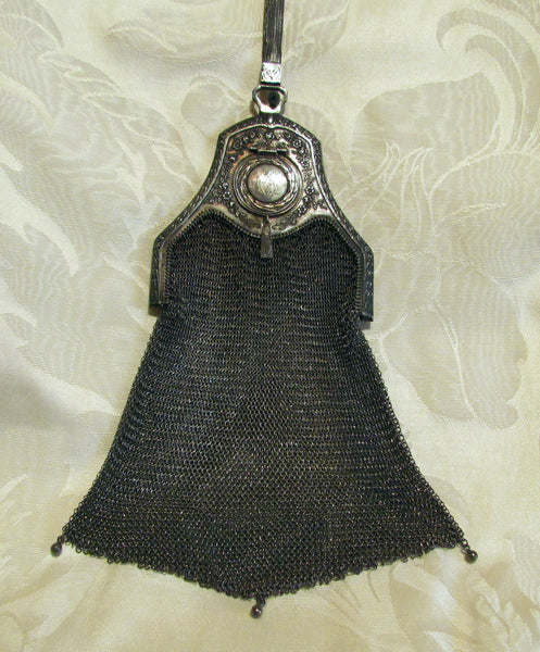 Piccadilly Soldered Mesh Purse Whiting & Davis Compact Sapphire Clasp Bag 1920s Flapper Evening Bag Formal Purse RARE