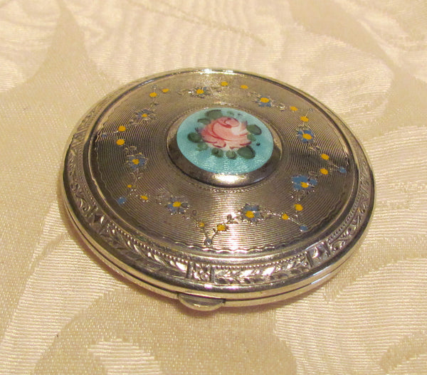 1930s Silver Guilloche Compact Art Deco Powder Mirror Compact