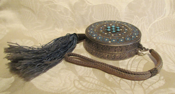 Silver Compact Wristlet Purse Turquoise Stones And Enamel Accents 1800's Powder & Rouge Rare
