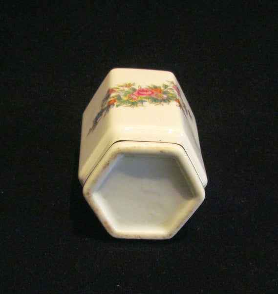1940s Table Lighter Cigarette Lighter Vintage Lighter Porcelain Lighter Floral Silver Ceramic WORKING