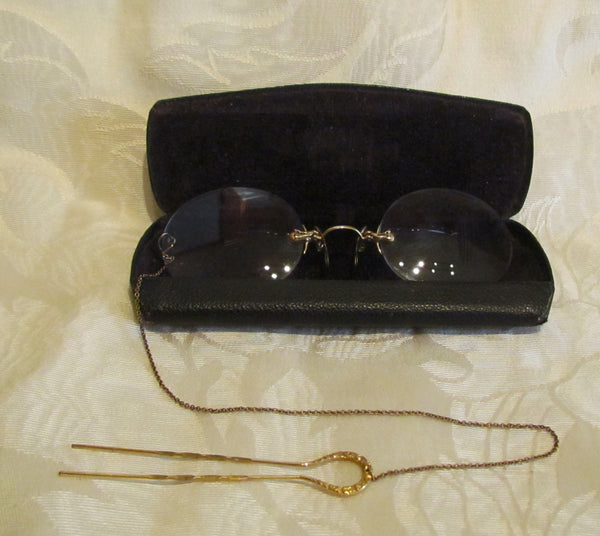 12Kt GF Pince Nez Eyeglasses Victorian Spectacles 1800s SHUR-ON Ladies Glasses With Hairpin & Case