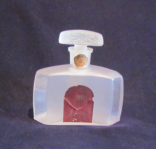 Three Flowers Perfume Bottle Vintage Richard Hudnut Frosted 8 Ounce Bottle 1920's Extremely Rare