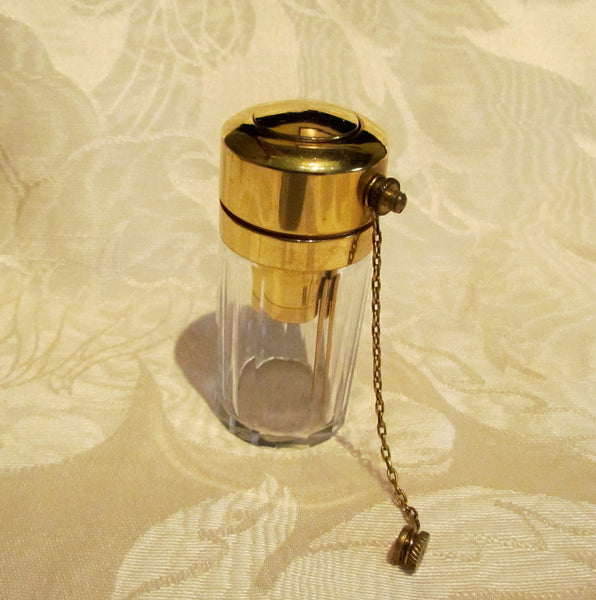 Antique Perfume Bottle 1900s Atomizer Glass Bottle Gold Plated