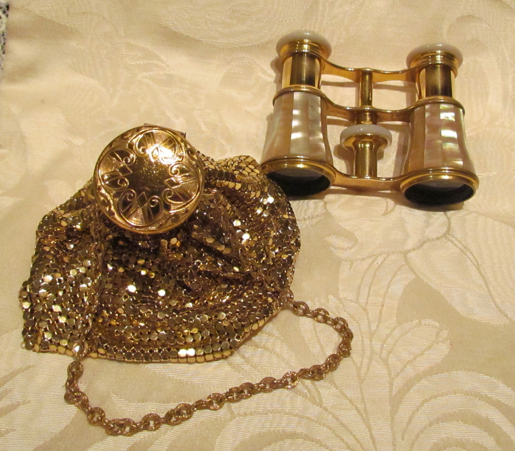 LeMaire Fi Mother Of Pearl Opera Glasses 1890s Paris Theater Glasses 1920s Gold Mesh Gate Top Purse