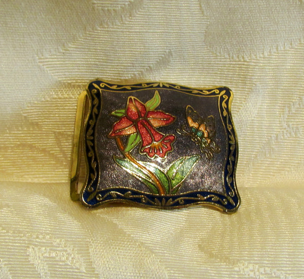 Vintage Guilloche Belt Buckle Enamel Butterfly Daffodil Flower Design
